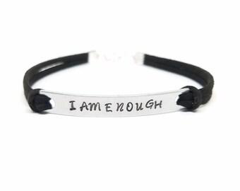 I AM ENOUGH Bracelet | Positive Affirmation Bracelet | Hand Stamped I AM Bracelet  | Mantra Bracelet  | You are Enough  | Good Enough