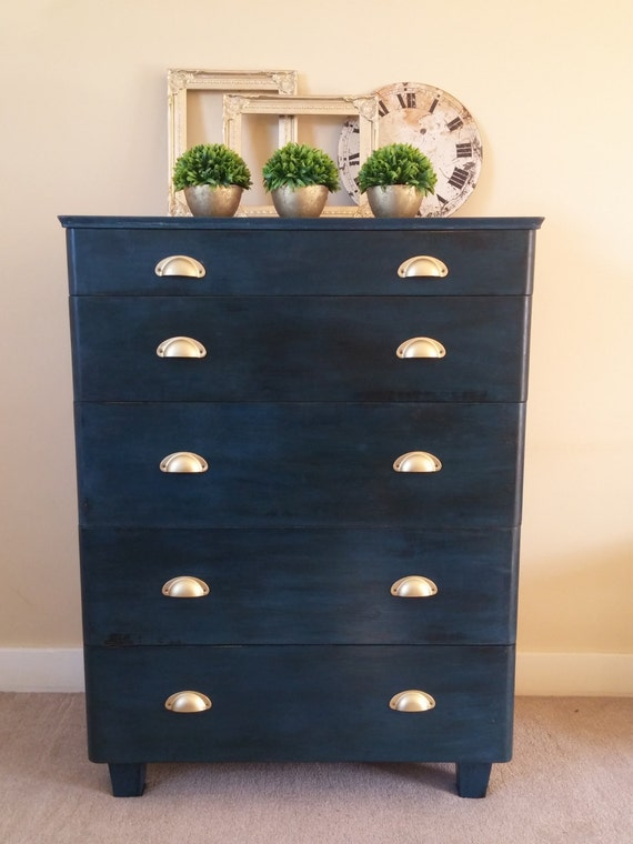 Tall Chest Of Drawers Blue Black Chabby Chic Upcycled