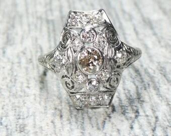 Vintage Diamond Ring Antique Platinum Ring Platinum Old Mine Cut Diamond Ring Colored Diamond Art Deco Antique Diamond Ring