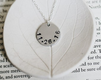 Hand Stamped Date Necklace / Wedding Gift / Anniversary Present / Baby Shower / Engagement Date / Custom Date / Personalized Jewelry