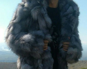MEN'S New!Real Natural SILVER FOX Hooded Short Fur Jacket!
