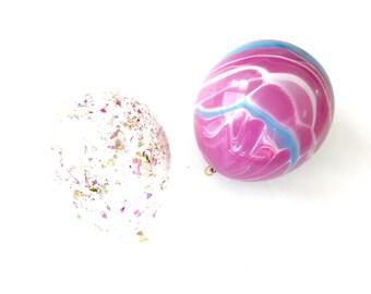 Marble Balloons (Set of 4)- Confetti Balloon - Purple Balloons- Swirl Balloons - Pink Party - Unicorn Party