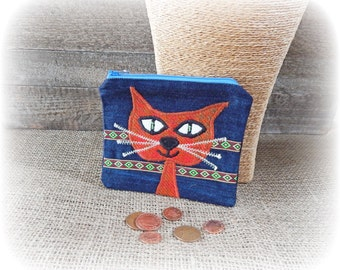 Cat Purse, Coin Purse, Quirky Purse, Denim Purse, Zip Purse, Folk Art Pouch, Applique Purse, Recycled Gift, Upcycled Unique Purse, Eco Gift