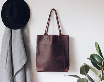brown oiled leather tote bag, leather tote, leather bag, boho, distressed