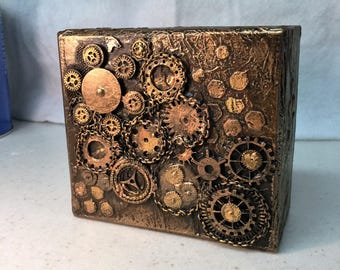 Steampunk  Wood Box Assemblage, mixed media, copper with gear motif