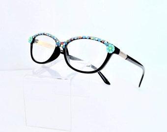 Flower Reading Glasses, Colorful women readers with Daisy Flower, +3.00 Eyeglasses