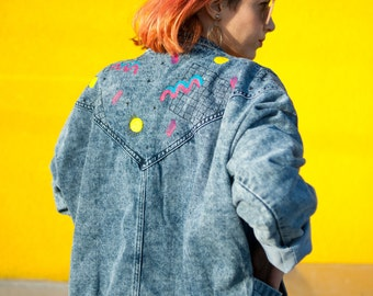 Oversized retro style denim jacket hand painted in our 'California Dreaming' 90s style design