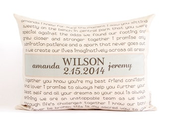 Wedding Vows or Song Pillow, Anniversary Gift, Two Year Anniversary, 2nd Anniversary, Gift for Her, Gift for Him, Wedding Gift