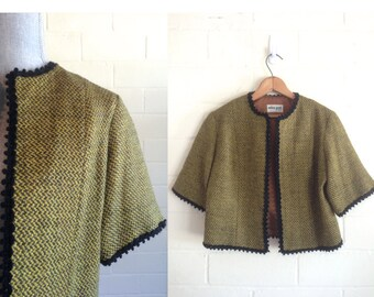 Vintage 60s tweed jacket / cropped short sleeve wool blazer / olive gold black