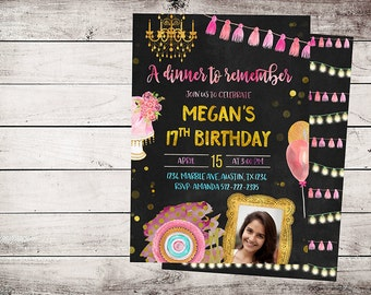 Dinner Party Invitation, Rehearsal dinner invitation, Dinner Birthday Invitations, Dinner Invites, Rehearsal dinner invites, Dinner invite,