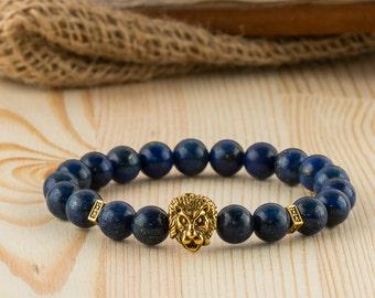 Mens lion bracelet lion head bracelet lion jewelry gift for boyfriend bracelet dark blue stone bead bracelet lapis lazuli bracelet for men.