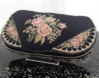 Pretty 1930s purse bag petit point embroidered vintage antique