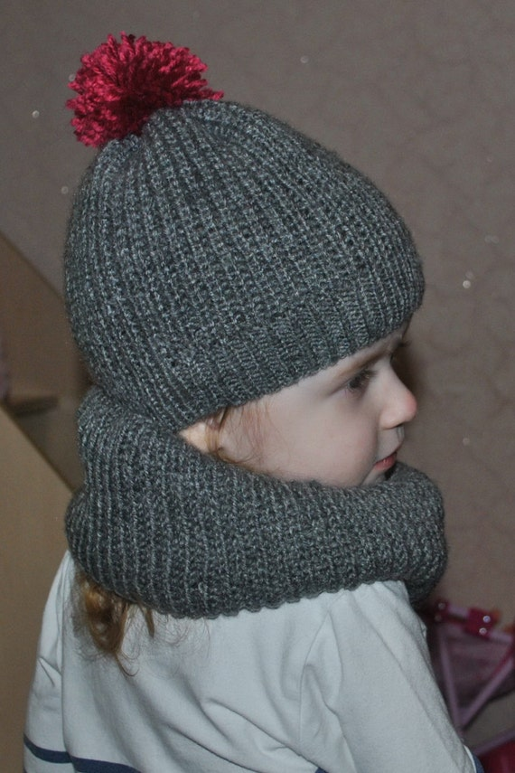 Knitting Pattern For Baby Hat And Scarf : Toddler Hat and Scarf Set. Knitted Baby Set Knit Baby Gray