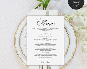 Wedding Menu Printable Template, Menu Template, Dinner Menu, Wedding Printable, Instant Download Editable Menu, PDF, MAM200_09