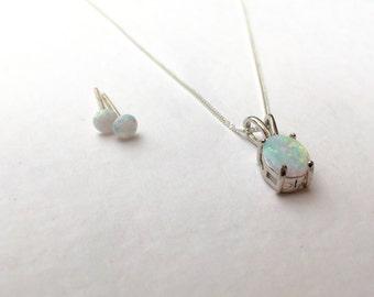 Opal necklace and earring set, solid 925 sterling silver chain, opal studs, opal jewelry set, 925 silver opal set, opal jewellery set
