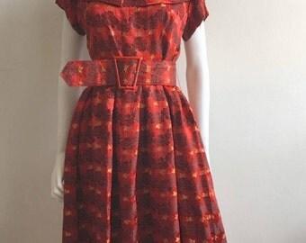 1940s Dress / Silk Brocade / Red / Metallic / Belt / M