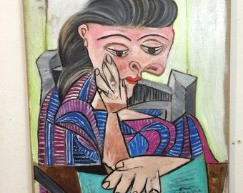 PICASSO.- Oil on canvas - GIRL READING.