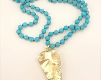 Gold Metallic Arrowhead with Turquoise Beads