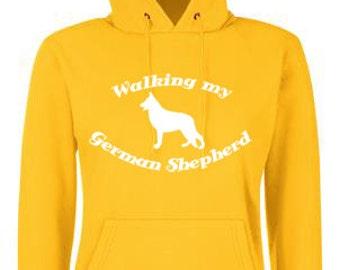 Walking my German Shepherd Dog Walking Hoodie Hooded Sweatshirt - Various Colours Available