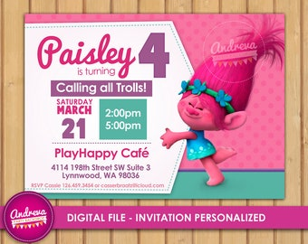 Trolls Poppy Birthday Invitations, trolls invitations, Princess Poppy, girl invitations, trolls printable invitations, trolls birthday party