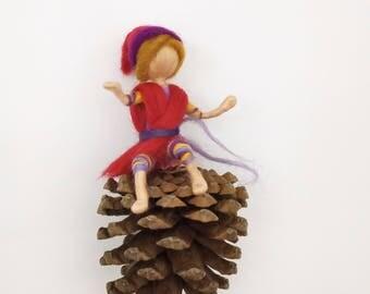 Elf nature, red elf, felted wool elf, pixie mobile, custom gnome