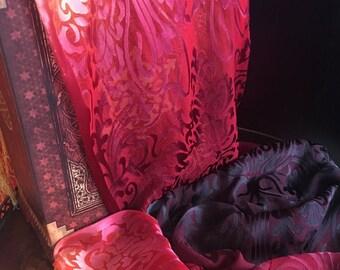 Handpainted silk satin devore scarf fire color fringe