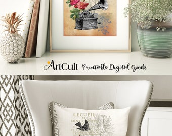 Two Digital Sheets SHABBY ELEGANCE No6 Printable Images to print on fabric or paper, Iron On Transfer for tote bags t-shirts pillows ArtCult