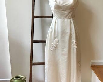 60s Bergdorf Goodman Wedding Gown Luxe Ivory Silk Charmeuse Midcentury NYC Socialite Sophisticate Elegant Audrey Hepburn Style