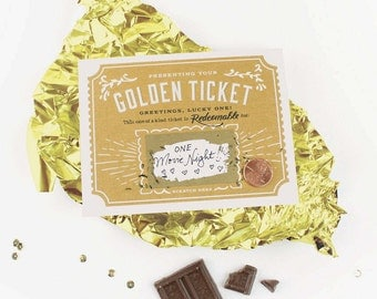 Scratch-off Golden Ticket Greeting Card // Write Your Own Message