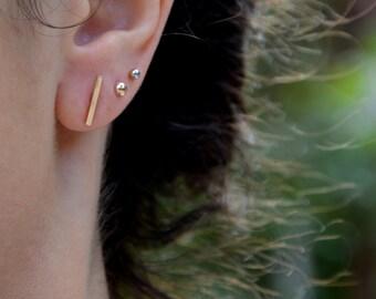 Gold Bar Stud Earrings, 14 k Gold Bar Earrings, Solid Gold, Shiny Polished Finish, Handmade studs
