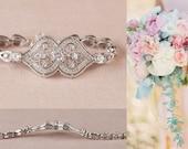 Bridal Bracelet, Crystal Wedding Bracelet, Bridal Earrings, Vintage style Bracelet, Delicate, Danella Bracelet