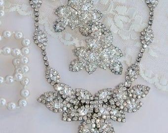 WOW Vintage Rhinestone Necklace & Earring Set,Paved Layered Marquise Navette Rhinestone Set,Mid Century,Demi Parure,Bridal,Wedding,Gatsby