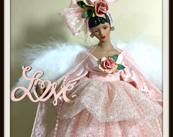 Angel Tree Topper, Black Doll Angel of Love, African American Tree Topper, Mother's Day Gift Angel, Home Decor, Christmas Angel Treetopper,
