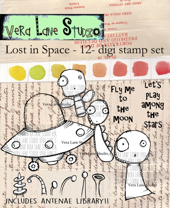 Lost in Space - quirky flying saucer and aliens digi stamp set - 12 stamps