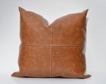 Paneled Faux Leather Pillow Cover - Caramel