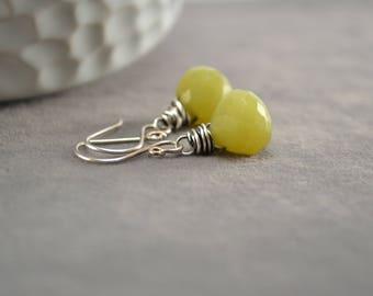 Jade Earrings, Olive Jade Dangles, Oxidized Silver Earrings, Wire Wrap Dangles, Green Gemstone Earrings, Green Earrings, Green Dangles