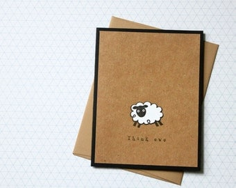 Note card set, Thank Ewe Card, Sheep Thank You, Punny Thank You Cards, Handmade Thank You Cards, Handmade Card Set, Thank You Notes