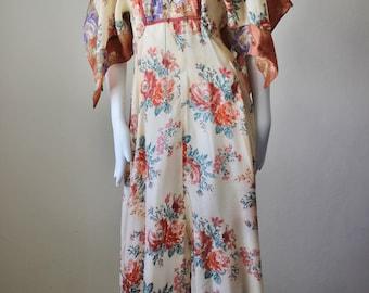 Vintage dress, 1960s, maxi, festival, retro, floral, silky, 1960s, hippie, scarf, handkerchief hem
