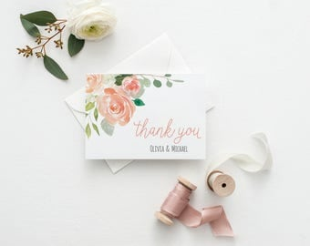Personalized Couples Gift Idea Personalized Thank You Cards Wedding Watercolor Thank You Card for Wedding Personalized Couples Stationery