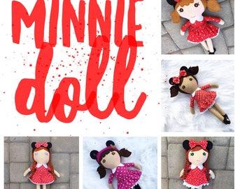Minnie Doll, Red Rag Doll, Minnie Mouse Doll, Girl Rag Doll, Personalized Rag Doll, Rag Doll, Softie Rag Doll, Heirloom Rag Doll Fabric Doll