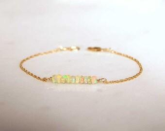 Opal Bracelet, Ethiopian Opal, Birthday, Love, Gift, October Birthstone, LIJ 16005