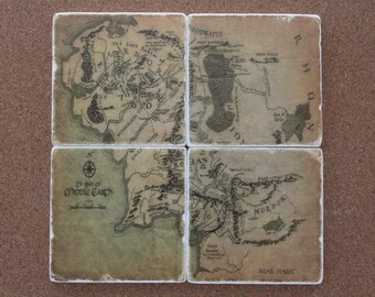 Set of 4 Tumbled Marble Tile Coasters - Lord of the Rings Inspired Map of Middle Earth