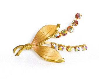 brooch gold, rhinestone, dress clip, vintage, aurora borealis, multi colored stones, flower scarf pin, ladies brooch, flower jewelry