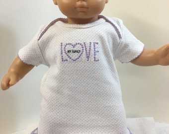 """15 inch Bitty Baby Clothes,""""LOVE My FAMILY"""" Purple Dots Nightgown, 15 inch Ag Bitty Baby or Twin, Fits 16"""" Cabbage Patch KIDS Doll, Heart!"""
