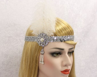 White Silver Gatsby headband | the great gatsby headpiece bridal headpiece wedding headpiece gatsby costume flapper headband flapper dress