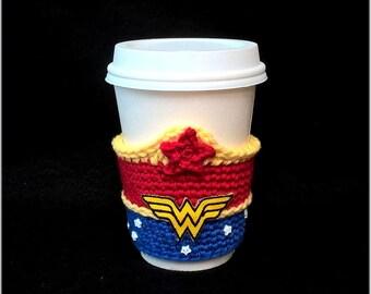 Hand Crochet Wonder Woman Inspired Coffee Cup Cozy