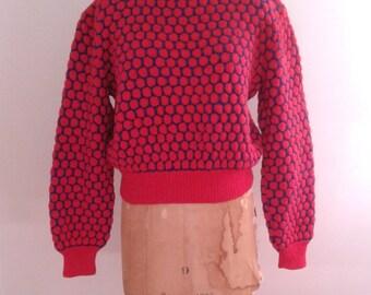 Vintage 1940's Hand Knit Red Blue Polka Dot Wool Sweater Sz Med WWII Era