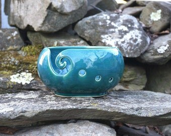 Teal VERTIGO Yarn Bowl~Knitting Bowl~ Handmade in Studio ~ Ready to ship !!!