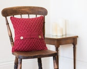 Red Rustic Pillow Cover, Rustic Cushion Cover, Country Pillow, Farmhouse Decor, Button Pillow, Textured Cushion, Red Living Room Decor