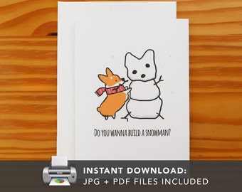 PRINTABLE Red Corgi Snowman Greeting Card | Printable Holiday Cards | Winter Snowflake Christmas Greeting Cards | Instant Download JPG PDF